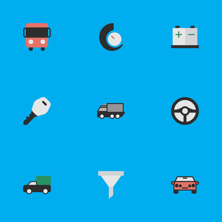 Elements Steering, Autobus, Accumulator And Other Synonyms Open, Bus And Delivery.  Vector Illustration Set Of Simple Transportation Icons. Illustration