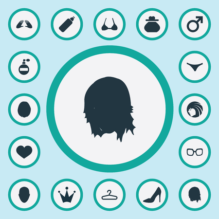 Elementos Corazón, Gafas, Heirdressing Y Otros Sinónimos Bragas, Armario Y Gafas. Ilustración vectorial Conjunto de iconos de simple glamour. Foto de archivo - 83211823