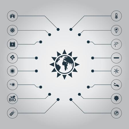Elementen schuur, alternatief elektrisch, veilige gloeilamp en andere synoniemen energie, bloem en Fahrenheit. Vector illustratie Set van eenvoudige energie pictogrammen. Stock Illustratie