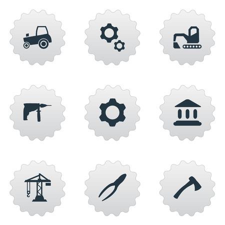 要素がクリッピング ツール、農業輸送、掘り、他類義語ツール掘りしアカデミー。 シンプルな工業用アイコンのベクター イラスト セット。