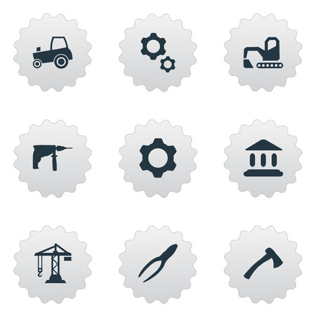 Elements Clipping Tool, Agriculture Transport, Digger And Other Synonyms Tool, Digger And Academy.  Vector Illustration Set Of Simple Industrial Icons. Çizim
