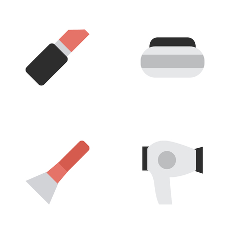 Elements Pomade, Drying Machine, Brush And Other Synonyms Lipstick, Drying And Cream.  Vector Illustration Set Of Simple Glamour Icons.