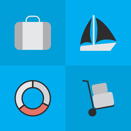 Elements Bag, Schooner, Cargo And Other Synonyms Sea, Lifebelt And Lifebuoy.  Vector Illustration Set Of Simple Travel Icons.