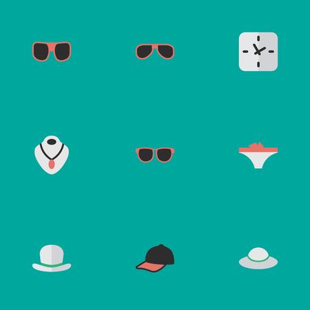 Elemente Brille, Zeit, Schmuck und andere Synonyme Dessous, Höschen und Zeit. Vektor-Illustrations-Satz einfache Instrument-Ikonen. Standard-Bild - 83228975