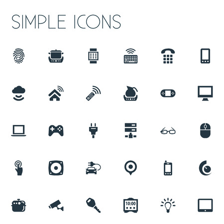 Elements Bulb, Eco Transportation, Electric Stove And Other Synonyms Location, Phone And Videogame.  Vector Illustration Set Of Simple Internet Icons. Reklamní fotografie - 83227632