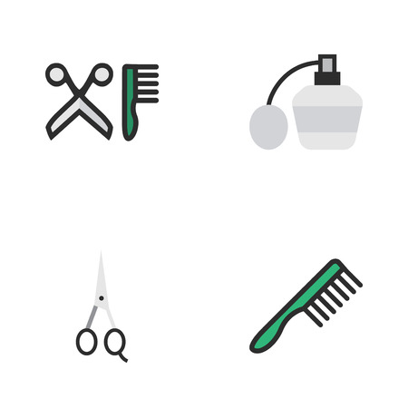 Elements Scissors, Hairbrush, Perfume And Other Synonyms Comb, Hairdresser And Clippers.  Vector Illustration Set Of Simple Shop Icons.