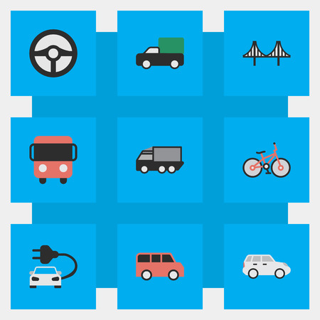 Elements Recycle, Charge, Lorry And Other Synonyms Shed, Bridgework And Green.  Vector Illustration Set Of Simple Traffic Icons. Illustration