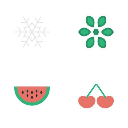 Elementen Bloesem, Meloen, Bessen En Andere Synoniemen Sneeuwvlok, Meloen En Sneeuw. Vector Illustratie Set Van Eenvoudige Tuin Pictogrammen.