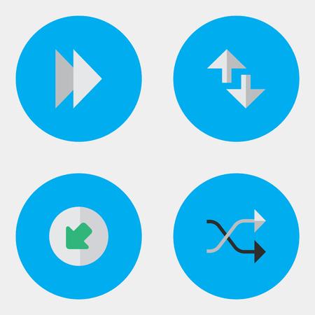 노스 웨스트, 카오스, 커서 및 기타 동의어 다음 요소, 노스 웨스트 및로드. 벡터 일러스트 레이 션 간단한 표시기 아이콘의 집합입니다.