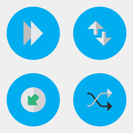 Elements Northwestward, Chaotically, Cursor And Other Synonyms Next, Northwest And Loading.  Vector Illustration Set Of Simple Indicator Icons. Ilustrace