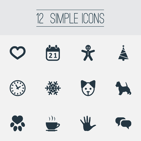 Elements Puppy, Message, Fir And Other Synonyms Watch, Cookie And Snow.  Vector Illustration Set Of Simple Brood Icons. Illustration