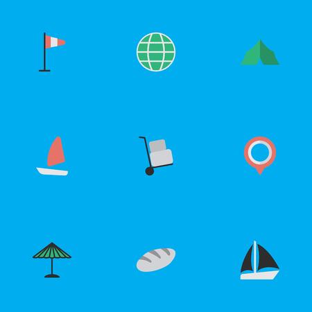 要素日傘、ボート、キャンプ、類義語の他のパン屋、マークし、パンします。 単純な休暇のアイコンのベクトル イラスト セット。
