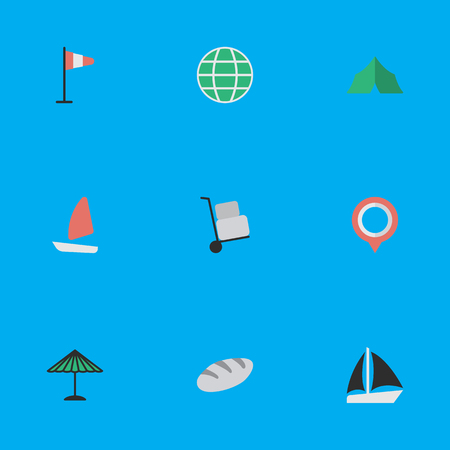 Elements Parasol, Boat, Camping And Other Synonyms Bakery, Mark And Bread.  Vector Illustration Set Of Simple Vacation Icons.
