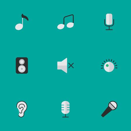 Elementen Luister, spreker, microfoon en andere synoniemenregulator, luidspreker en versterker. Vector illustratie Set van eenvoudige geluidspictogrammen.
