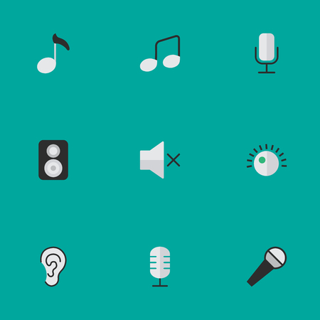 Elements Listen, Speaker, Microphone And Other Synonyms Regulator, Loudspeaker And Amplifier.  Vector Illustration Set Of Simple Sound Icons.