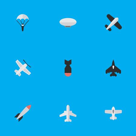 요소 기술, 비행 차량, 투석기 및 기타 동의어 공예, 비행기 및 풍선. 벡터 일러스트 레이 션 간단한 비행기 아이콘의 집합입니다.
