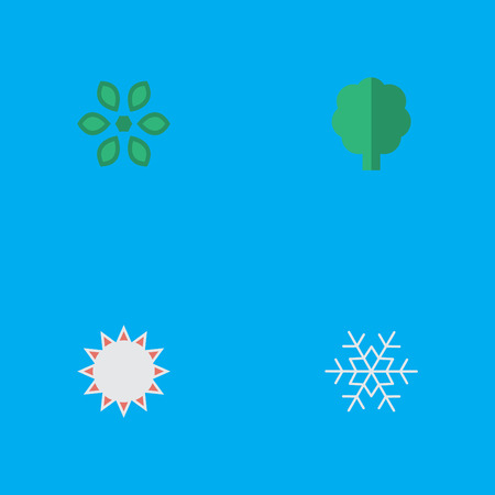 Elements Sunny, Blossom, Wood And Other Synonyms Hate, Snow And Forest.  Vector Illustration Set Of Simple Garden Icons.