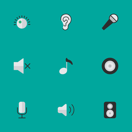 loudness: Elements Loudspeaker, Record, Loudness And Other Synonyms Loudspeaker, Music And Sign.  Vector Illustration Set Of Simple  Icons.