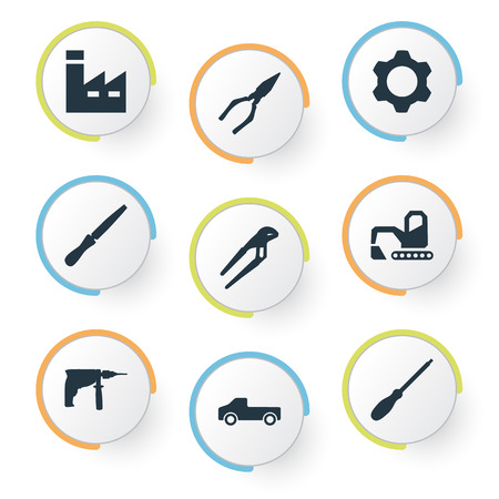 Elements Gear, Fretsaw, Manufacture And Other Synonyms Detail, Gear And Adjustable.  Vector Illustration Set Of Simple Work Icons.