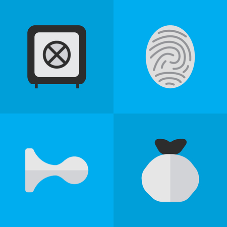 要素 Bioskyner、貯金箱、ボールト、他の同義語指紋保護と Bioskyner。 単純な攻撃アイコンのベクター イラスト セット。
