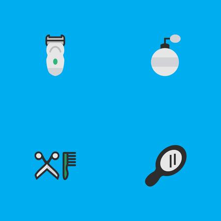 Elementos de peine, fragancia, vidrio y otros sinónimos de máquina, peluquería y espéculo. Ilustración vectorial Conjunto de iconos de tienda simple. Foto de archivo - 83211795