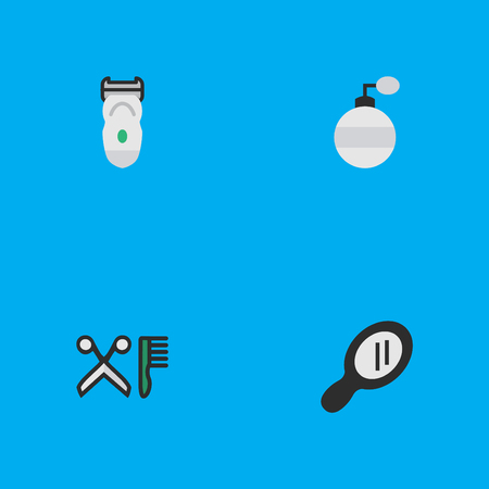 Elements Comb, Fragrance, Glass And Other Synonyms Machine, Hairdresser And Speculum.  Vector Illustration Set Of Simple Shop Icons.