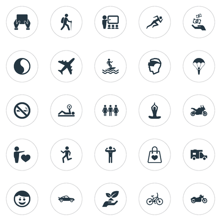 Elements Walking, Ballance, Medicine And Other Synonyms Vacation, Healthy And Speed.  Vector Illustration Set Of Simple Health Icons.