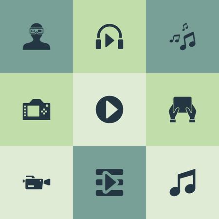 Elementen muziek luisteren, videocamera, begin en andere synoniemen beginnen, muziek en muziek. Vector illustratie Set van eenvoudige pictogrammen.