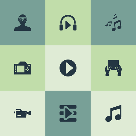 Elements Music Listening, Video Camera, Begin And Other Synonyms Begin, Musical And Music.  Vector Illustration Set Of Simple  Icons.