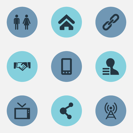 Elements Handshake, Radio Tower, Connection Synonyms Smartphone, Home And Recruitment.  Vector Illustration Set Of Simple Social Icons.