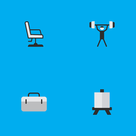 Elements Armchair, Briefcase, Easel And Other Synonyms Painting, Seat And Handbag.  Vector Illustration Set Of Simple Knowledge Icons. Illustration