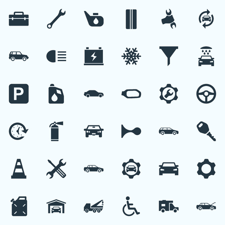 Elements Grease, Wheel, Carriage Wash And Other Synonyms Wash, Mirror And Workshop.  Vector Illustration Set Of Simple Auto Icons.