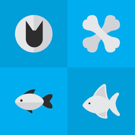 Tomcat d'éléments, perche, squelette et autres poissons synonymes, chat et squelette. Vector Illustration Set d'icônes de la faune simple. Banque d'images - 83275205