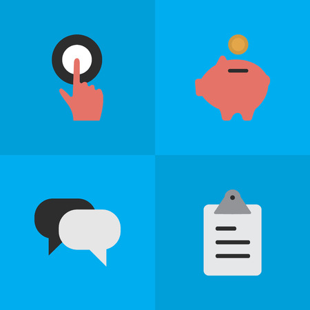 Elements Finger Touching, Moneybox, Clipboard And Other Synonyms List, Humans And Conversation.  Vector Illustration Set Of Simple Business Icons.