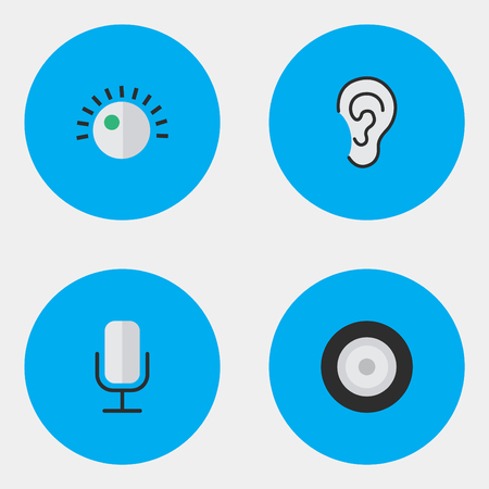 Elements Regulator, Loudspeaker, Record And Other Synonyms Microphone, Regulator And Listen.  Vector Illustration Set Of Simple Sound Icons. 向量圖像