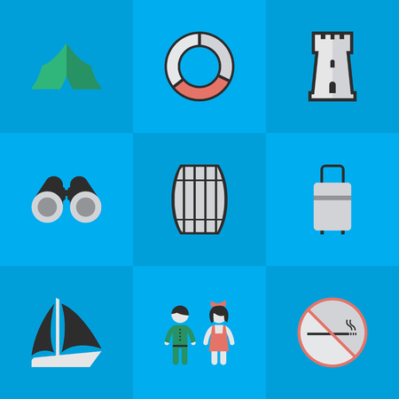 Elements Schooner, Smoke Forbidden, Cask And Other Synonyms Castle, Defence And Vision.  Vector Illustration Set Of Simple Travel Icons. Illustration