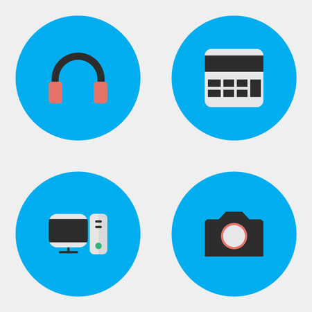 Elements Headphone, Photo Apparatus, Accounting And Other Synonyms Accounting, Camera And PC.  Vector Illustration Set Of Simple Gadget Icons. Illustration