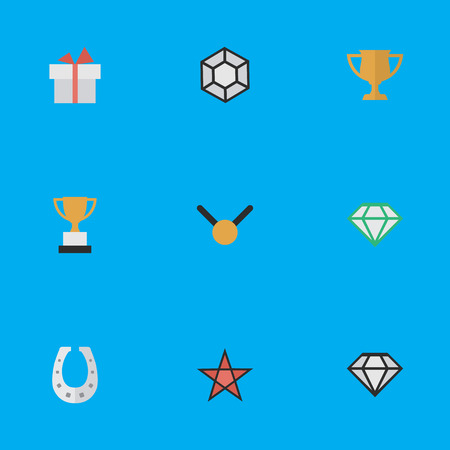 Vector Illustration Set Of Simple Trophy Icons. Elements Metal, Medal, Present And Other Synonyms Cub, Precious And Brilliant.