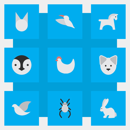 Vector Illustration Set Of Simple Fauna Icons. Elements Cock, Hare, Pigeon And Other Synonyms Hen, Widow And Hare.