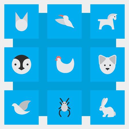 Vectorillustratiereeks Eenvoudige Faunapictogrammen. Elements Cock, Hare, Pigeon And Other Synoniemen Hen, Widow And Hare.