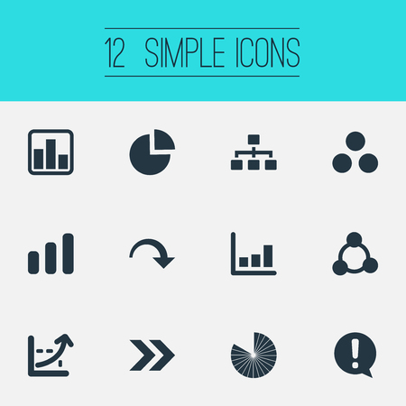 Vector Illustration Set Of Simple Chart Icons. Elements Line Bar, Lecture, Decline And Other Synonyms Growth, Collapse And Increase. Ilustração