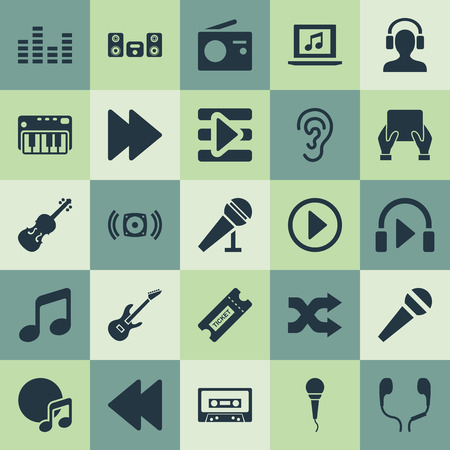 Vector Illustration Set Of Simple Melody Icons. Elements Laptop, Hear, Tape And Other Synonyms Cassette, Arrow And Loudspeaker.