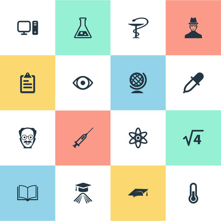 単純なスタディ アイコンのベクター イラスト セット。要素知識、グローブ、薬のスポイトおよび他の同義語卒業、電子と本。  イラスト・ベクター素材