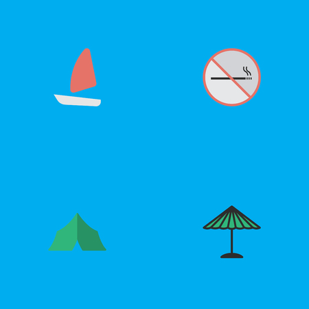 Vector Illustration Set Of Simple Relax Icons. Elements Camping, Boat, Parasol And Other Synonyms Tent, Umbrella And Forbidden.