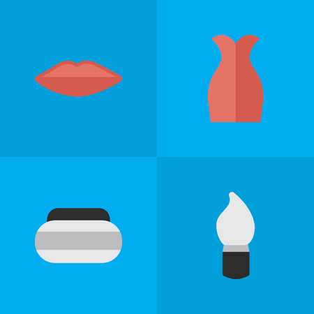 Vector Illustration Set Of Simple Beauty Icons. Elements Jar, Lips, Scrub And Other Synonyms Garment, Dress And Jar.