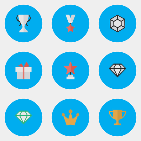 Vector Illustration Set Of Simple Achievement Icons. Elements Corona, Champion, Present And Other Synonyms Trophy, Crown And Brilliant.