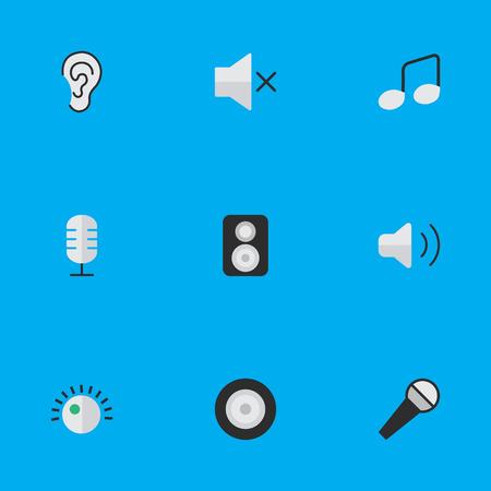 Elemente Mikrofon, Regler, Listen und andere Synonyme Lautsprecher, Zeichen und Verstärker. Vektor-Illustrations-Satz einfache Ikonen. Standard-Bild - 83141894