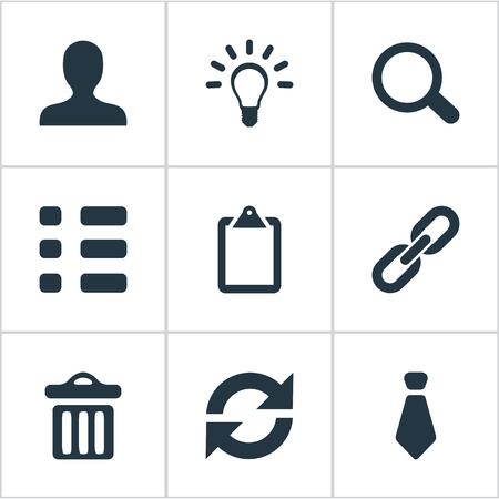 Illustration vectorielle définie des icônes d'interaction simple. Éléments Cravat, Ensemble, Tâches Et Autres Synonymes Chaîne, Clipborard Et Recherche. Banque d'images - 83160572