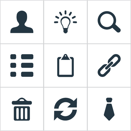 Vector Illustration Set Of Simple Interaction Icons. Elements Cravat, Togetherness, Tasks And Other Synonyms Chain, Clipborard And Search. Illustration