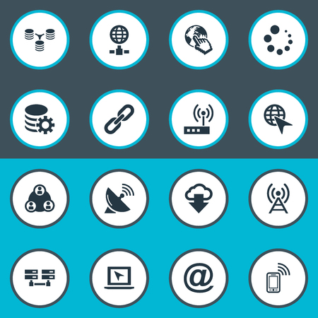 Vector Illustration Set Of Simple Web Icons. Elements Data Center, Server Transferring, Chain And Other Synonyms Download, Group And Satellite.